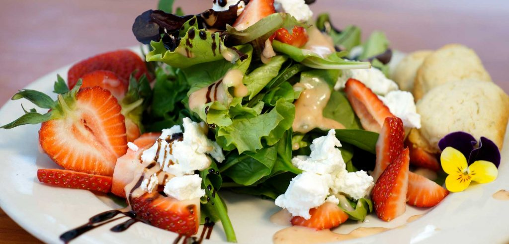 Strawberry Salad with Local Goat Cheese and a Rhubarb Vinaigrette